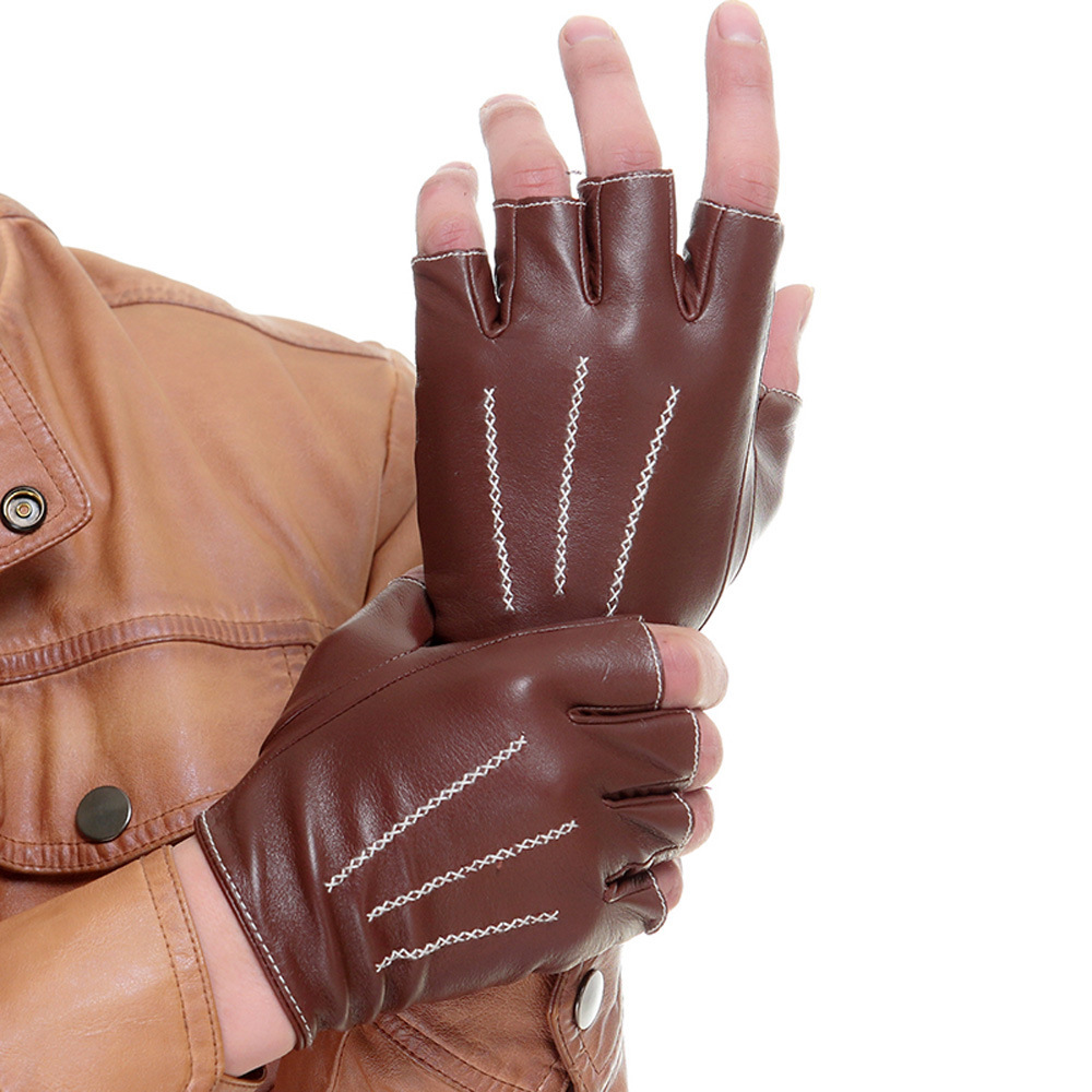 Free shipping cyrilus authentic men driving lampskin fingerless leather gloves 3 lines cyw1314