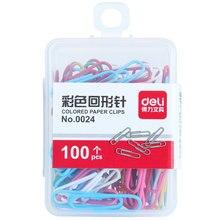 Deli 100 pçs mini metal binder clipes de papel clipes de papelaria escola acessórios de escritório organizador