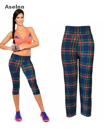 Aselnn Brand New Capri Women Leggings Pantaloni a vita alta con - Abbigliamento donna - Fotografia 3