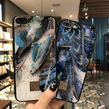 Luxury Bling Glitter Phone Case For iPhone X 8 7 6S Plus Gold Foil Soft Silicone Cover XS MAX XR Peacock Feather