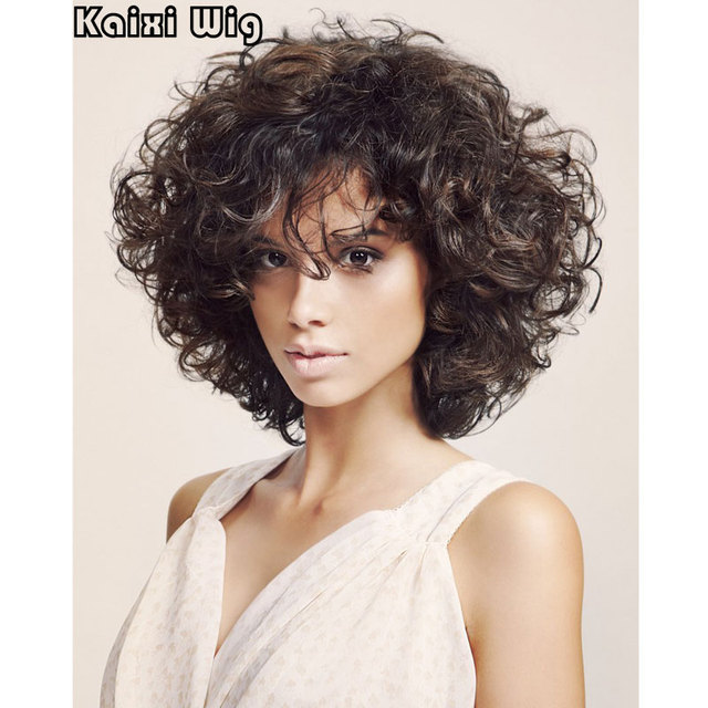 Short Curly Wigs For Black White Women Best Synthetic Wig African American Short  Wigs Short Haircuts For Women Curly Brown Wig 3ec2c16814