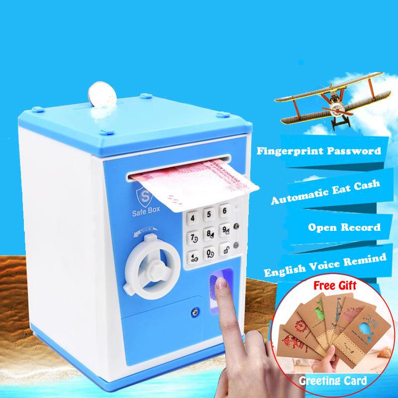 2018 New Creative Fingerprint Electronic Piggy Bank ATM Password Money Box Cash Coin Saving Box For Kids Birthday Christmas Gift