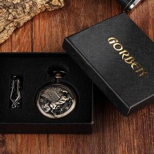 Image 5 - Reloj de bolsillo Steampunk para hombre, Caballo de bronce Reloj de bolsillo mecánico, cadena, caballo hueco, diseño de Pegaso