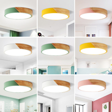 Nordic Round LED Ceiling Light Wood Macaron Ceiling Light for Bedroom Dining Room SDF-SHIP цена