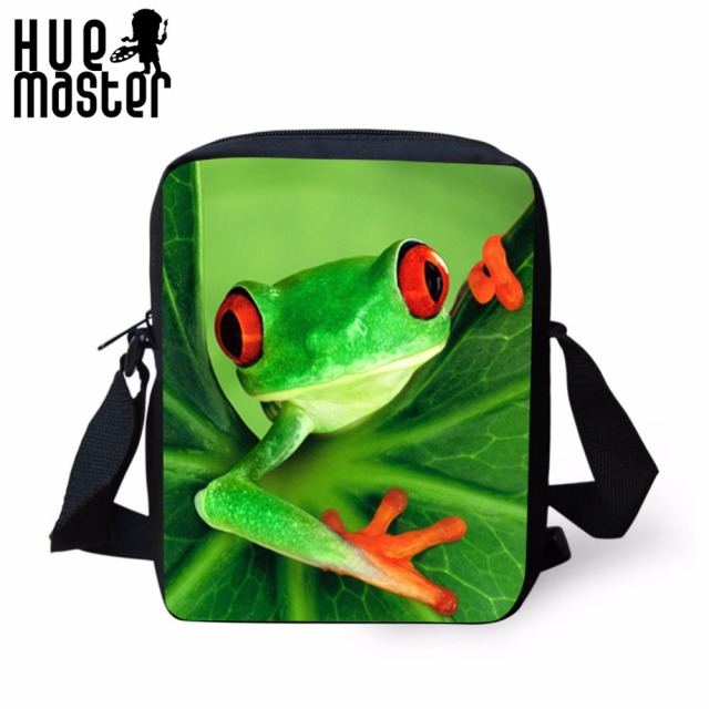 HUE MASTER Frog Printing Messenger Bags Children Kids Shoulder Bags  Portable Crossbody Female Male Small Bag Bandolera Hombre