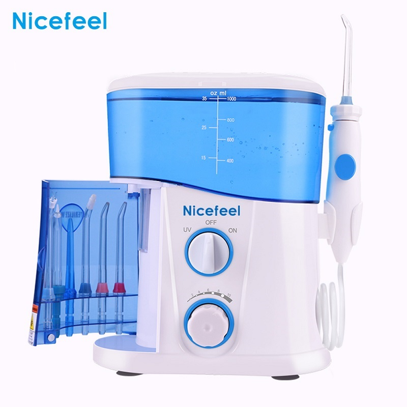 Nicefeel Adjustable 10 Level Dental Floss Water Oral Irrigator Flosser Teeth Cleaner 1000ML Large Capacity Tank