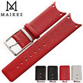 MAIKES New Fashion Red Genuine Calf Hide Leather Watch Strap Band Accessories Watchband For CK Calvin Klein KOH23101 KOH23220