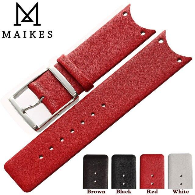 MAIKES Nueva Moda Rojo Piel de Becerro de Cuero Genuino Correa de Reloj Band Accesorios de la Venda de reloj Para CK Calvin Klein KOH23101 KOH23220