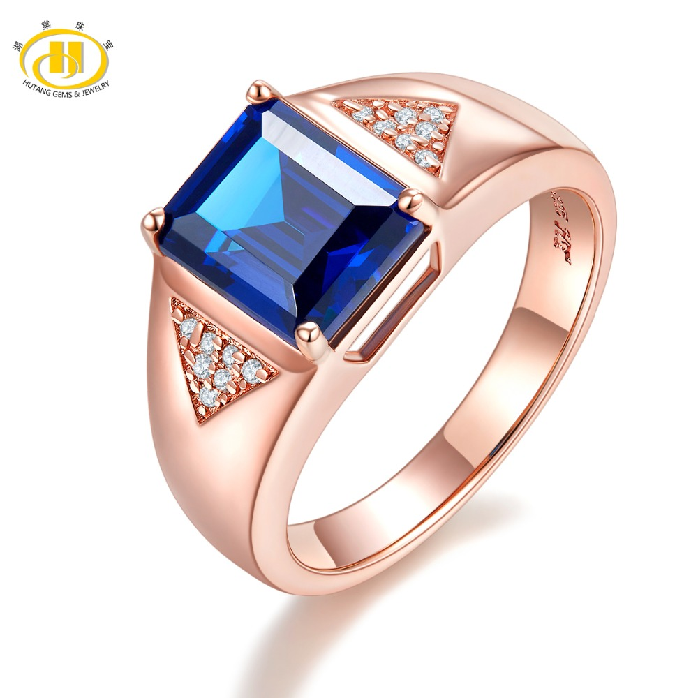 Hutang Men's Ring Blue Sapphire Gemstones Fine Jewelry Rose Gold Plated S925 Sterling Silver Rings For Men Wedding 2018 New yoursfs® alliance gold 585 blue heart stone promise ring rose gold plated created sapphire turkish jewelry wedding engagement ring