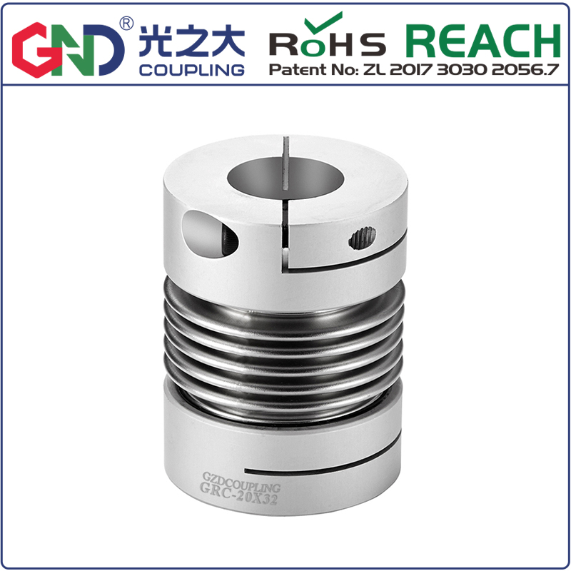GRC Aluminum Alloy Bellows Top Series clamp series shaft couplings design for servo step motor coupler