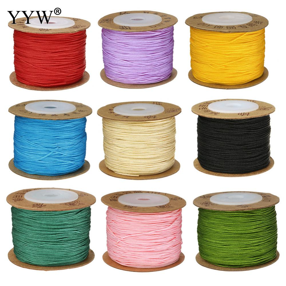 24 Color 100m/Spool 0.8MM Nylon Cord Thread Cord Plastic String Strap DIY Rope Bead Necklace European Bracelet Jewelry Making 100yards spool 1mm waxed cotton cord thread cord plastic string strap diy rope bead necklace european bracelet ma