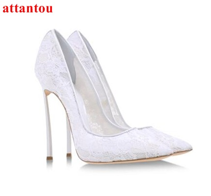 White Lace embroider Women Shoes Slip-on High Heels glaze surface metal thin heel pumps female wedding dress shoes pointed toe white lace embroider women shoes slip on high heels glaze surface metal thin heel pumps female wedding dress shoes pointed toe