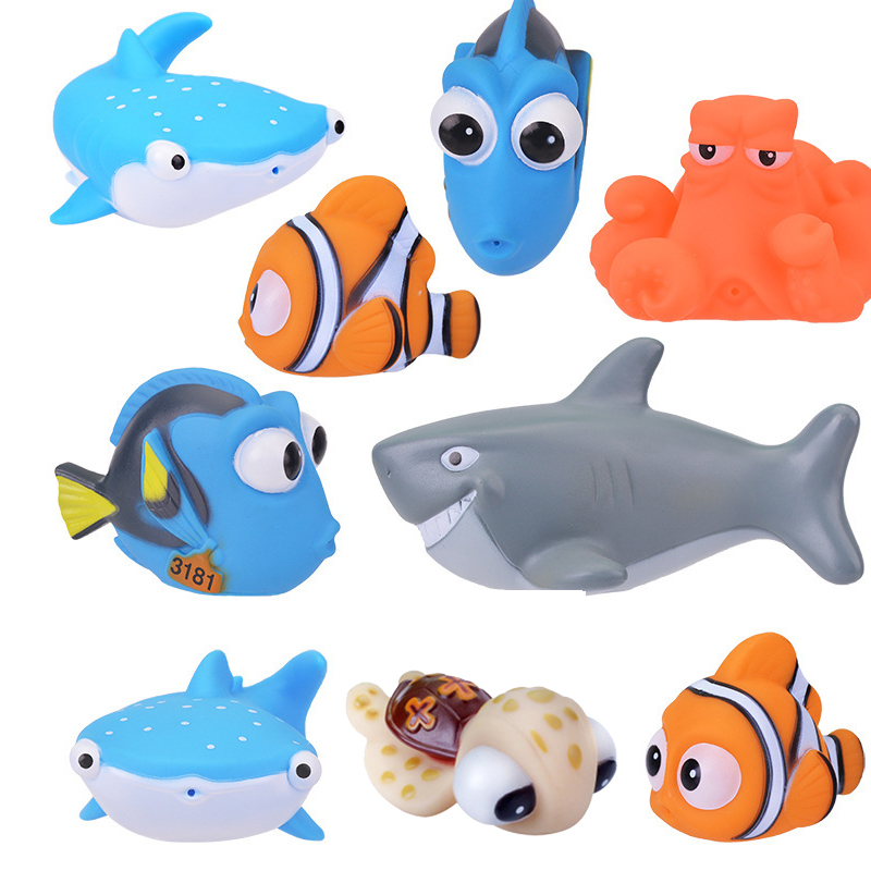 1PCS New Baby Bath Toy Animal Squeeze DebblingToys Float Wate Rubber Bathroom Fun  Play Animals Fish Tortoise Bath Toys For Kids