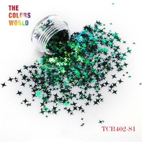 TCT-132, 12 цветов, четыре угла, форма звезд, блестки для ногтей, блестки для украшения ногтей, макияж, боди-арт, сделай сам - Цвет: TCR402-S1   200g