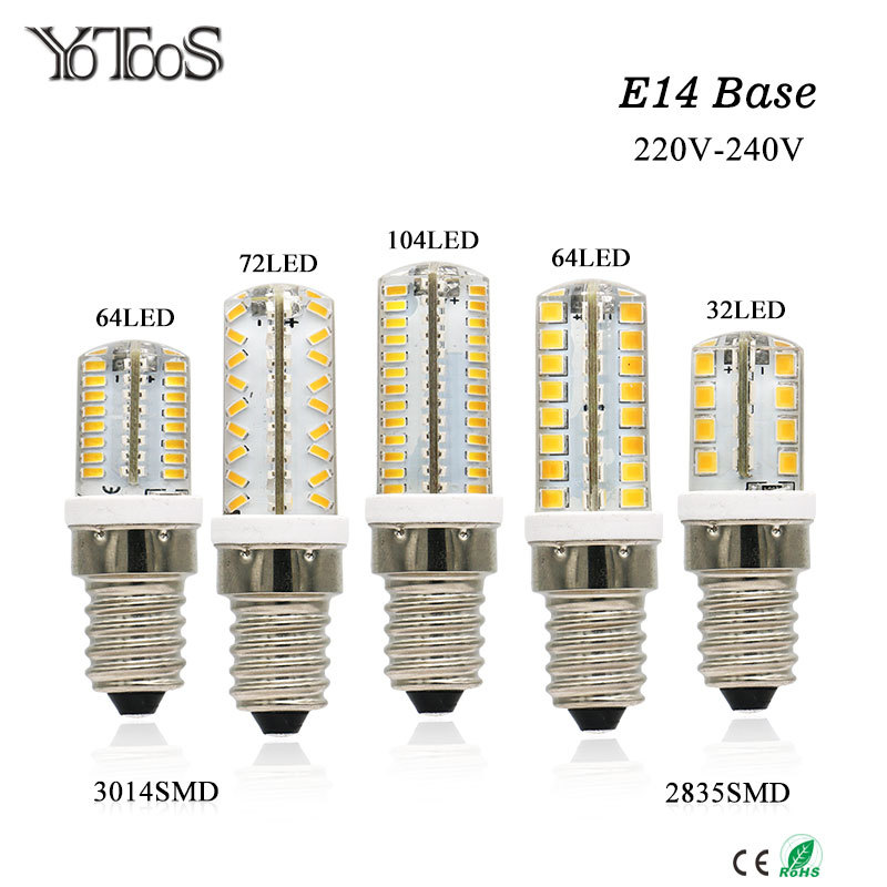 YOTOOS LED Lamp E14 Corn Led Bulb AC 220V 230V 240V SMD 3014 2835 LED Lights For Halogen Chandelier Candle Lights Home Lighting mini 10xg9 led corn light smd 3014 bulb spotlight for chandelier replace 5w halogen lamp 64led ac 110 240v