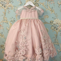 Lujo burbuja mangas perlas SASH princesa vestido del desfile flor decoración fuertemente rebordear Hollow volver boda del niño vestido 0-12 edad