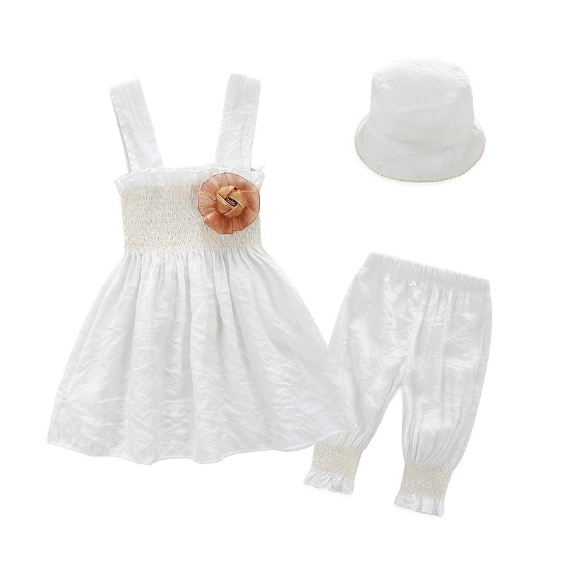 3PCS Little girls white dress Baby girls clothes Toddler Girls dresses with Pant + Hat for Baby girl Birthday Party