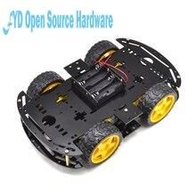 1 шт. черный Двигатель умный робот шасси автомобиля электронное производство DIY Kit Скорость кодер Батарея коробка 4WD 4 колеса автомобиль