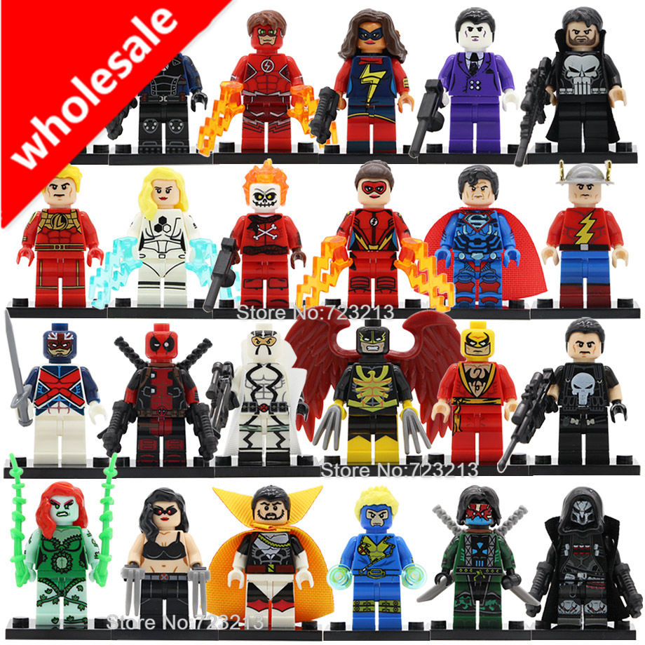 Wholesale 20pcs Super Hero X-23 Nighthawk Figure Blazing Skull Laura Ghost Maker Jay Garrick Purple Man Building Blocks Toys