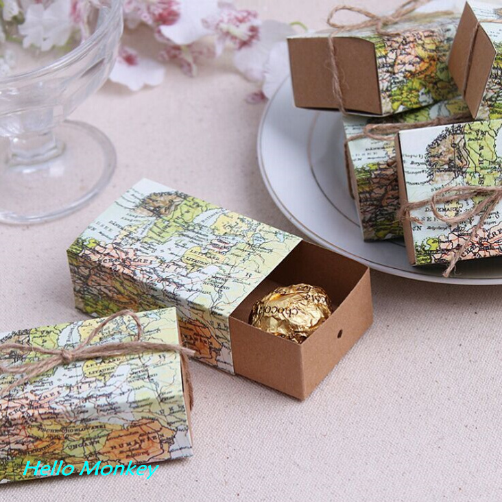 100pcs lot around the world map favor box for traveling theme wedding decoration gift box for Home decoration meester