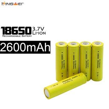 100pcs/lot Kingwei New 2600mah 18650 Batteries 3.7v  Rechargeable Battery For Flashlight Powerbank E-cigarette Headlight