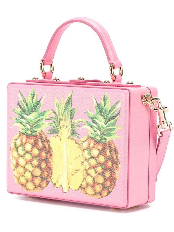 Luxury Designer Handbag Genuine Leather Women Pineapple Embellished Box Tote Bag (6)