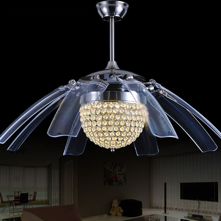 folding Ceiling fan led lamps antique modern living room hotel restaurant invisible mute fan with remote decorations lamps ZA ...