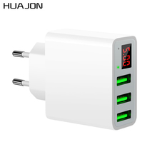 Universal 3 Ports LED Display Portable USB Wall Charger For iPhone X 10 8 Plus Samsung S8 S9 Plus EU US Plug 5V3A Travel Charger