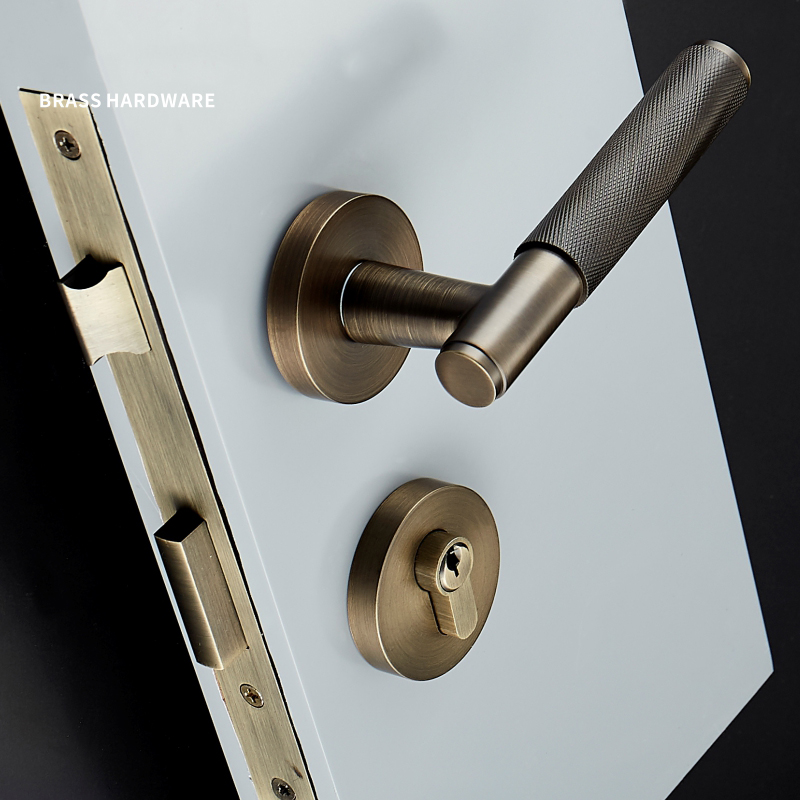 1Set Brass Lever Door Handle Knurled Textured Interior Door Handle with key Lock brass Mechanical Durable