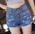 Free Shipping Hot Sale Loose New Arrival Korean Letter Graffiti Broken Hole Jean Short Pants