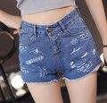 Frete grátis venda quente soltos New Arrival coreano Graffiti carta quebrado buraco Jean calças curtas
