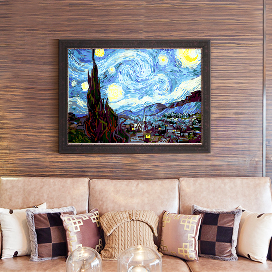 Diy pintura al óleo de Van Gogh Cielo Estrellado para colorear por ...