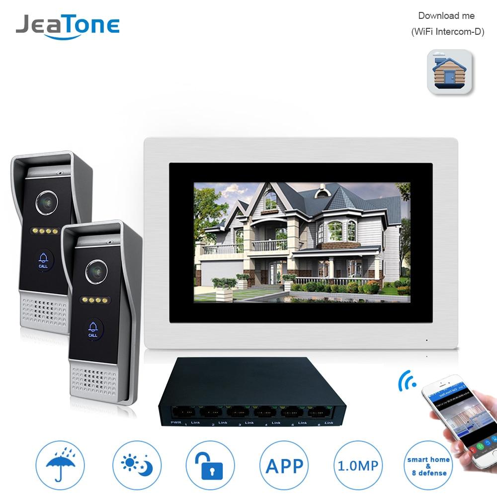 7'' WIFI IP Video Door Phone Intercom Wireless Door Bell Speaker Access Control System Touch Screen Motion Detection For 2 Doors