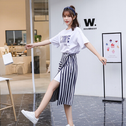 SMTHMA 2019 New Fashion Summer Women's Letters Long T-shirt + Split Striped Two Piece Female Casual Skirt Suits 2