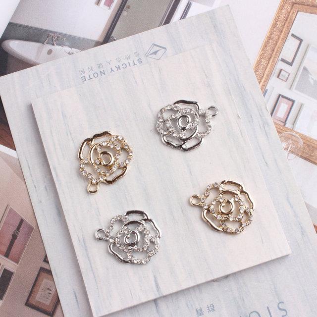 10PCS/Lot Silver Gold Color Tone Rose Flower Shape Charm With Rhinestone Charm Pendants For Bracelet DIY Jewelry