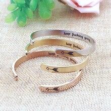 Encouragement Bangles Inspirational Titanium keep going Open Arrow Bracelet For Men Women Jewelry Dropshipping