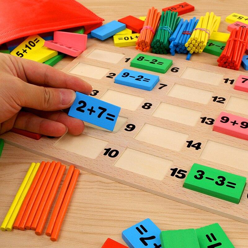 Bébé maths jouet blocs en bois jouet éducatif en bois maths jouets pour enfants Domino 3-4-5-6-7-8 ans jeu cadeaux drôles enfants - 3