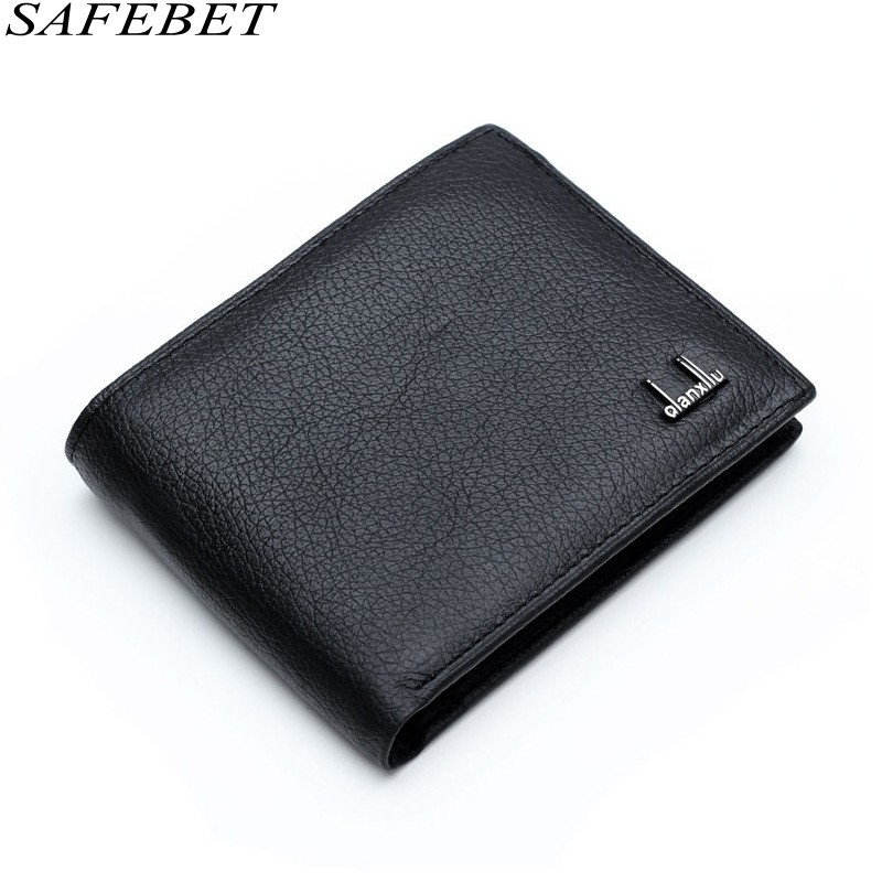 SAFEBET Brand Men Genuine Leather Short Section Card Holder For Wallet Fashion Luxury Ultra thin Mens Multi-card bit Wallet