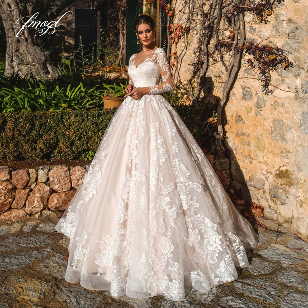 Fmogl Sexy Illusion Long Sleeve Vintage Wedding Dresses 2020 Scoop Neck Appliques Court Train Tulle A Line Bridal Gown Plus Size