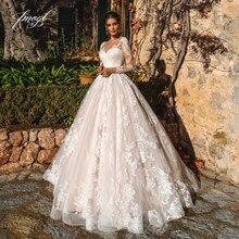 Fmogl Sexy Illusion à manches longues robes de mariée Vintage 2019 encolure dégagée Appliques Court Train Tulle une ligne robe de mariée grande taille