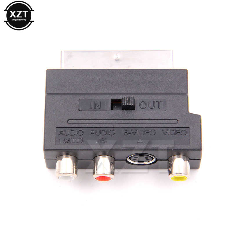 1pcs Brand New Hot Selling RGB Scart to Composite RCA S-Video AV TV Audio Adapter For Video DVD Recorder TV Television Projector