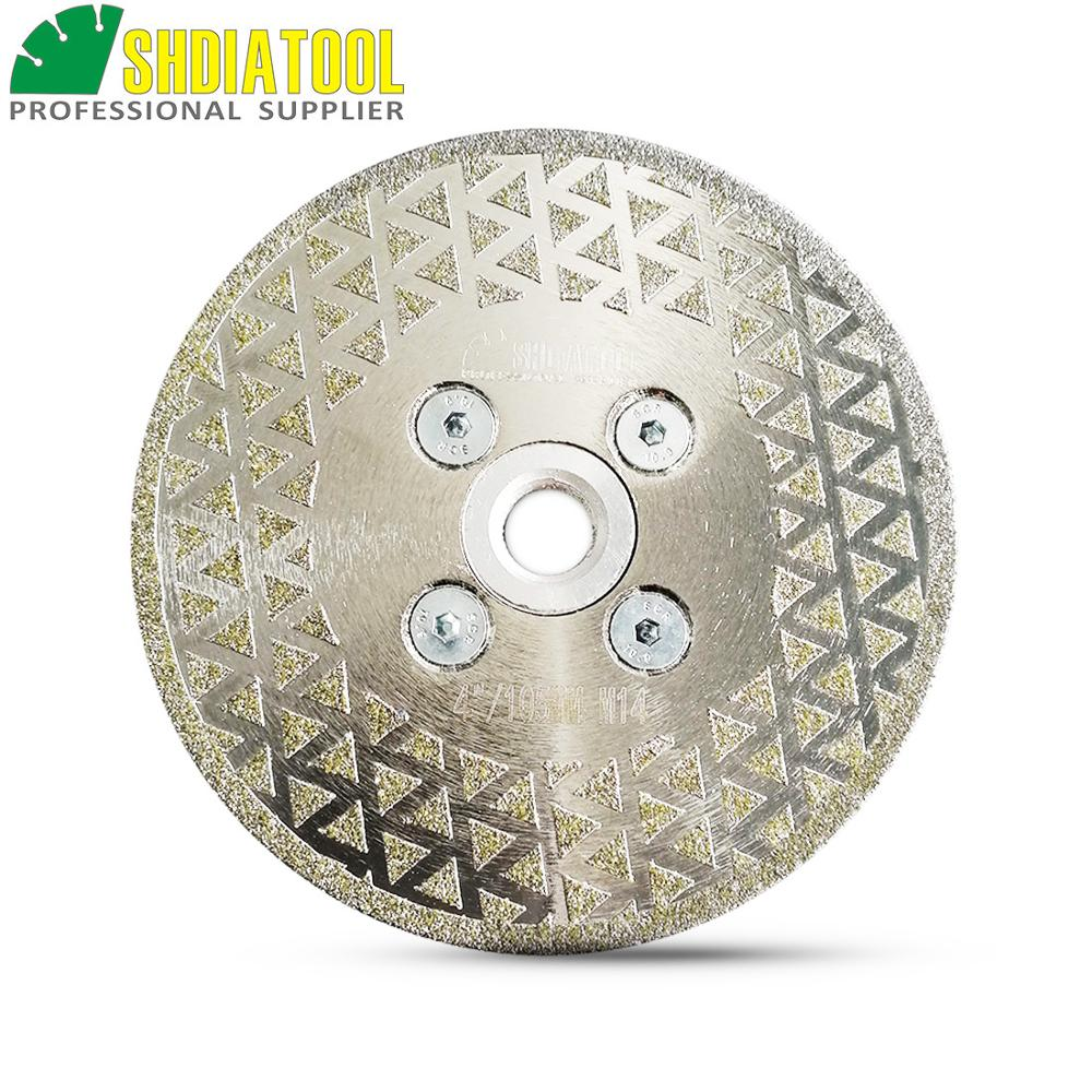 SHDIATOOL 1pc Electroplated Diamond Cutting Grinding Disc M14 Flange Single Side Coated Saw Blade Granite Marble 4