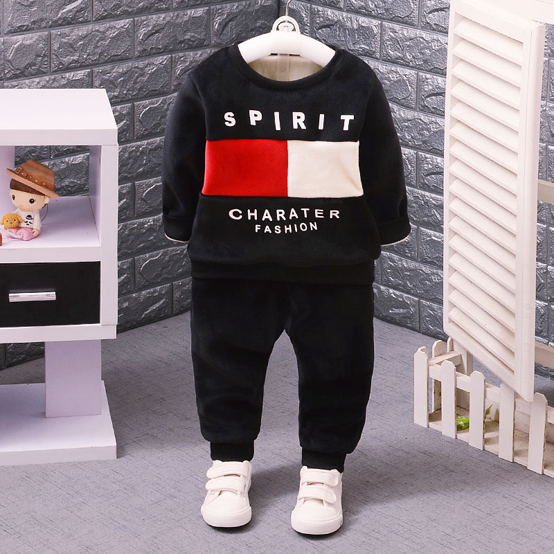 1-4 years Children Clothing Set Winter Long Sleeve Thicken Velvet Print 2pcs Suit Boys Girls Sweaters+Pants Cotton Clothes set