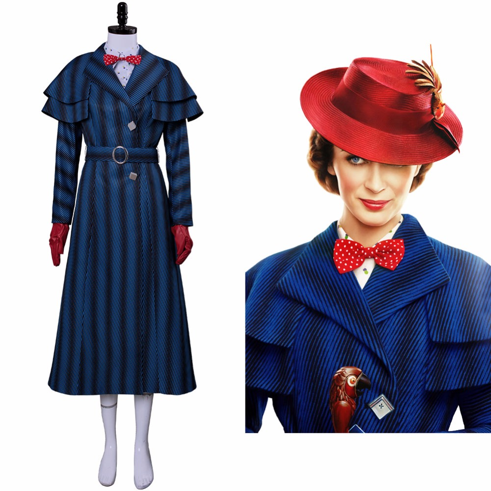 2018 Mary Poppins Returns Cosplay Mary Poppins Costume Robe Chapeau Ensemble Complet Filles Femmes Adulte Halloween Costume De Noël Personnalisé