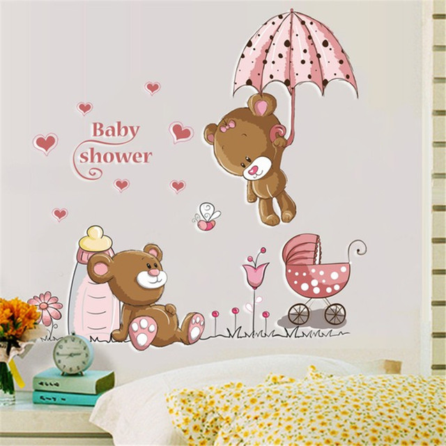 Cute Bear Removable Vinyl Kindergarten Nursery Kids Baby Child Room Home Decor Decoration Art Mural DIY Wall Stickers Decal