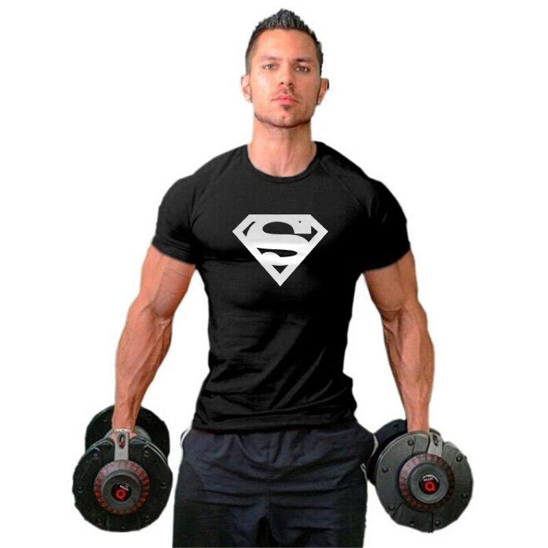 Mens Caber Camisetas Superman Academias de Musculação Aptidão T Camisas de Algodão Dos Homens de Manga Curta T Treino tshirt Hip Hop Muscular