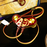iConstel K1 The Avengers Iron Man wireless Bluetooth headset golden HIFI Bilateral stereo Neckband sport earphones for iPhone