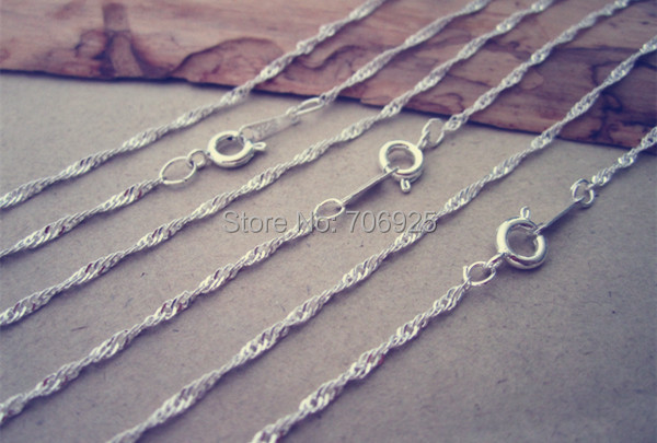 30pcs lot 17inches waves silver color Flat Chain with lobster clasp 2mm in Chain Necklaces from Jewelry Accessories