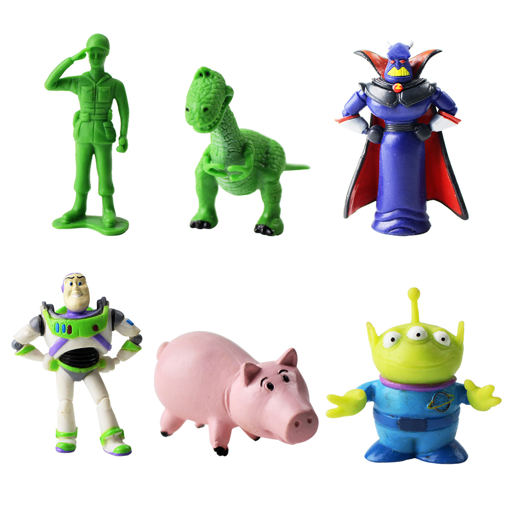 6pcs/lot Toy Story Buzz Lightyear Squeeze Toy Aliens Green