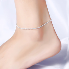 1Pcs Simple Fashion Silver Plated Hemp Rope Chain Ankle Bracelet Barefoot Sandal Beach Foot Jewelry For Women Anklet Accessories